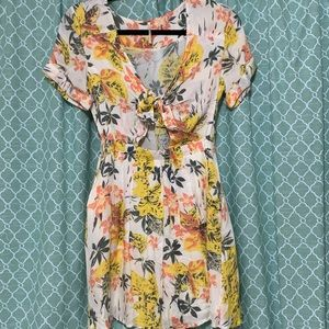 Free People Tie Front Floral Mini Dress